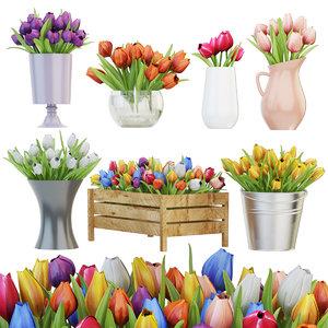 3D tulip vase flower model