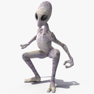 humanoid alien rigged 3D model