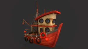 3D stylized diesel boat model