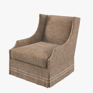 modern wingback classic armchair 3D model
