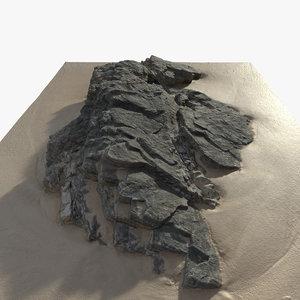 3D rock beach model