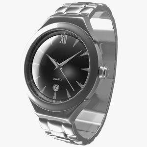 men quartz analog watch 3D model