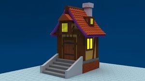 3D model stilized village house