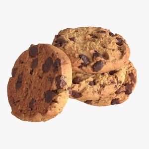 3D model chocolate chip cookies