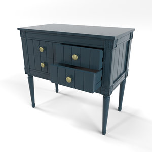 bourbon vintage cabinet dark blue 3D model