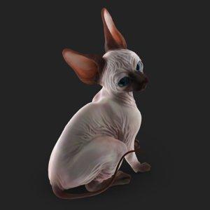 3D highpoly sphynx cat