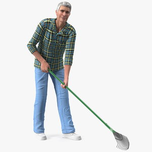 3D model elderly man homewear working