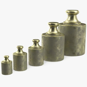 3D vintage scale weights set model
