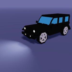 3D low-poly voxel modeled car model