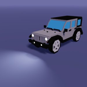 low-poly voxel modeled car 3D