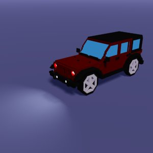 3D low-poly voxel modeled car