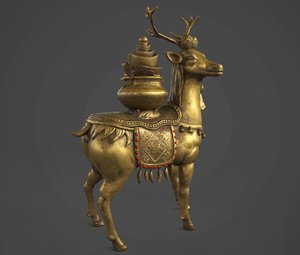 3D deer money statue model