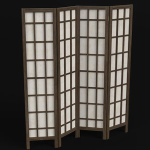 wood paper room divider 3D
