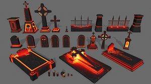 skull tombstone model