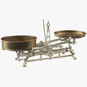 3D old vintage kitchen scale