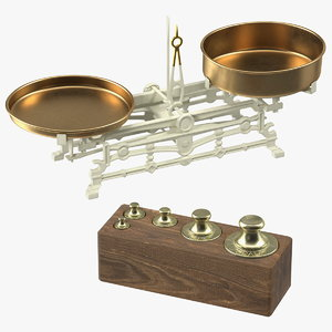 3D vintage balance scale weights