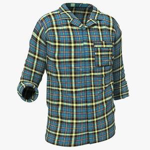 3D men plaid shirt model