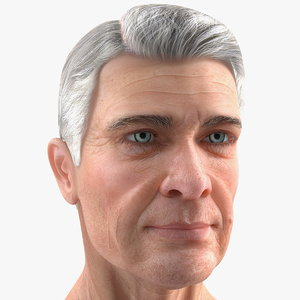 3D elderly man head model
