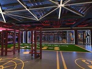 gym industrial loft 3D model