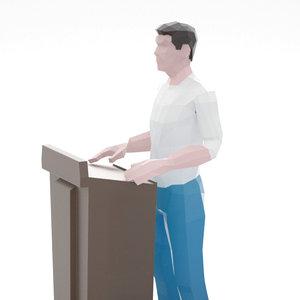3D man podium model