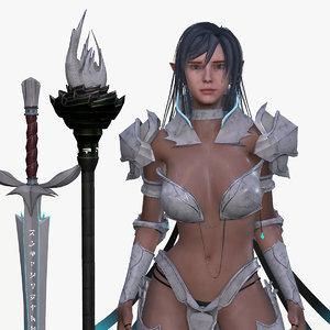 swordmaster wizard - elf 3D model