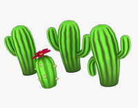 Stylized low-poly Cactuses