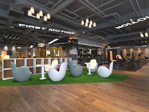 3D gym industrial loft model