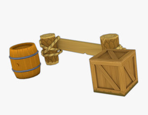 3D low-poly wooden model