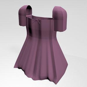 stylish dress square-neck short-sleeve 3D model