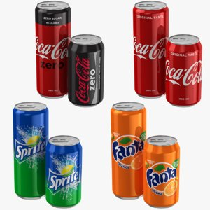 coca cola cans fanta 3D model