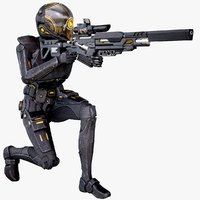Sci-Fi Soldier Female With The Sniper Rifle Rigged