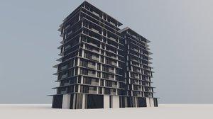 3D modern low-rise building model