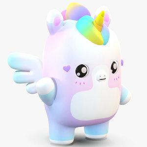 cute cartoon unicorn pegasus 3D model