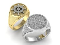 signet Mens ring with a steering wheel