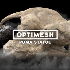 3D low-poly puma statue