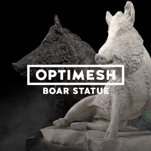 3D low-poly boar statue