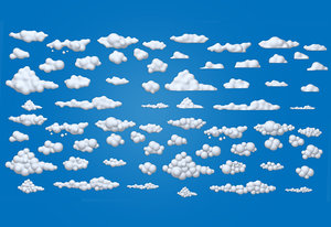 3D clouds cartoon 02 model