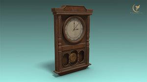 low-poly clock model