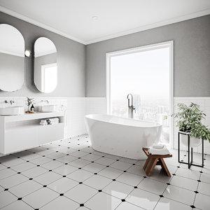 3D victorian bathroom contemporary - model