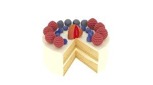 3D cake berries model