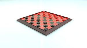 3D model classic board checkers