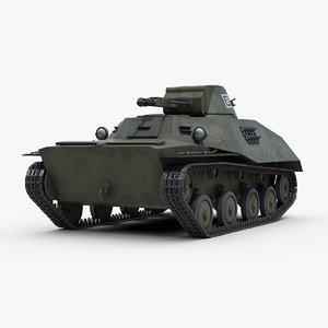 3D ww2 amphibious t40 tank track model