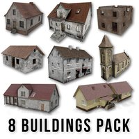 Post apocalyptic 8 Buildings Pack