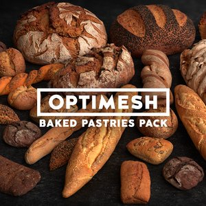 pastries rolls breads pack 3D model