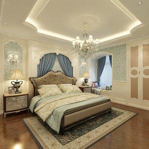 bedroom empire style decorative 3D model