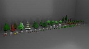 forest pack trees rocks 3D model