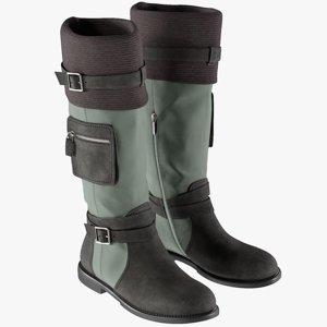 3D model realistic women s boots