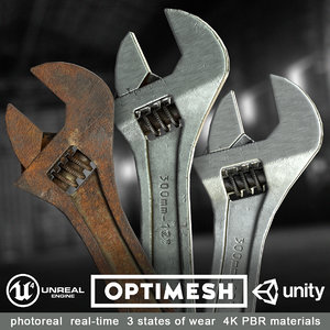 3D low-poly spanner wrenches modelled model