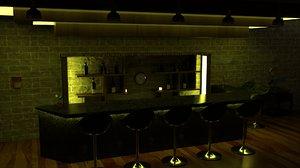 3D model modern bar pub scene