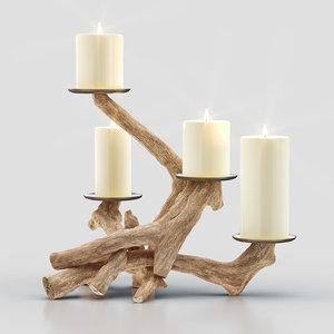 3D handmade driftwood pillar holder